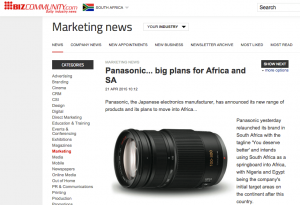Panasonic in South Africa in the News